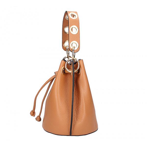 Tmavomodrá vaková kožená kabelka 363