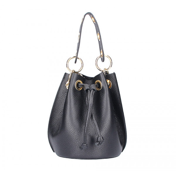 Čierna vaková kožená kabelka 5319