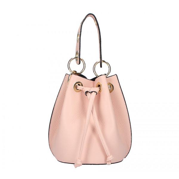 Ružová vaková kožená kabelka 5319