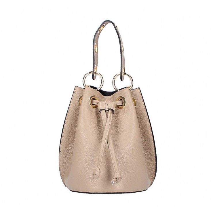 Genuine leather bucket bag 5319 taupe