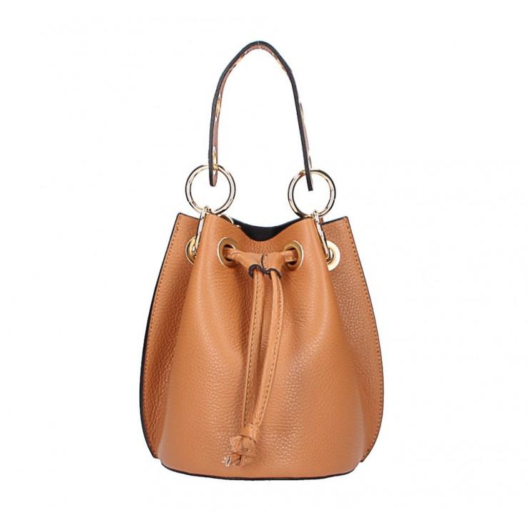 Genuine leather bucket bag 5319 cognac