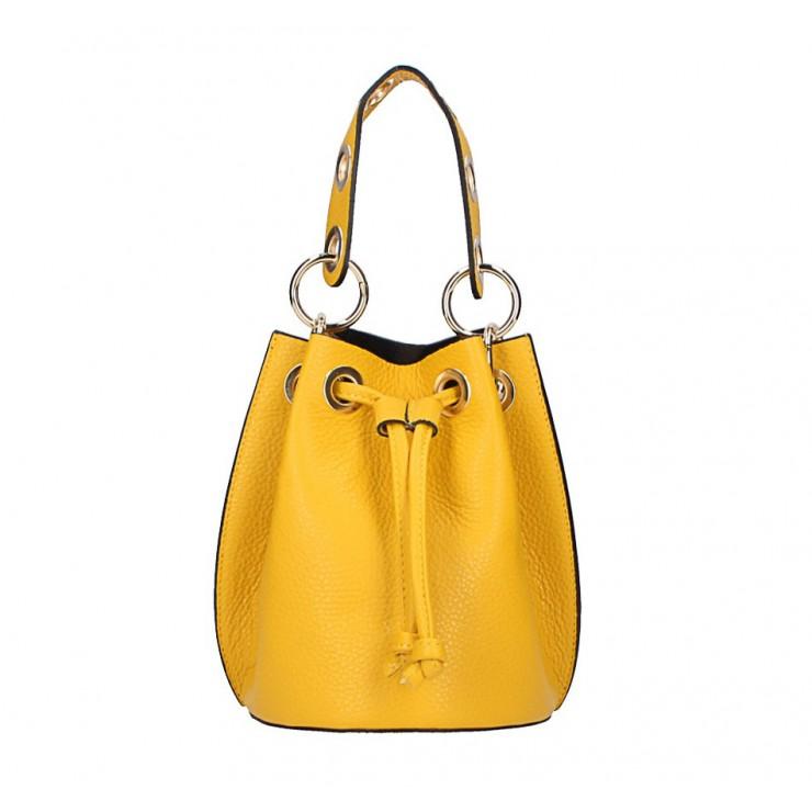 Žltá vaková kožená kabelka 5319