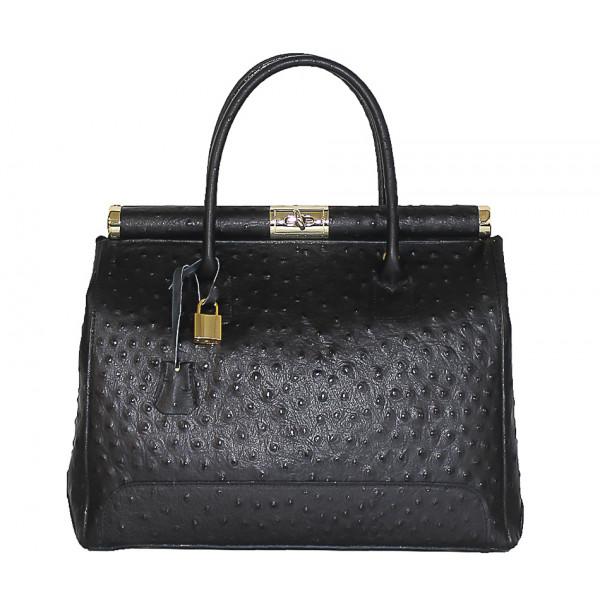 Čierna kožená kabelka do ruky 501 Čierna
