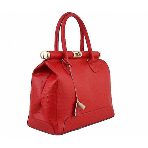 Červená kožená kabelka do ruky 501 Červená