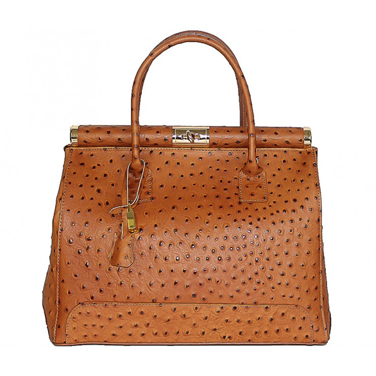 Genuine Leather Handbag 501 cognac