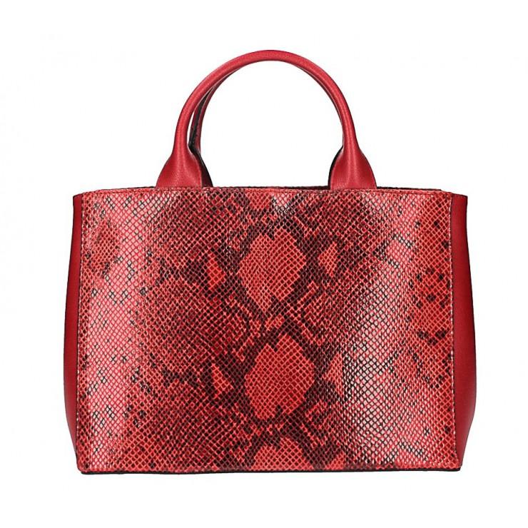 Červená kožená business kabelka 5087