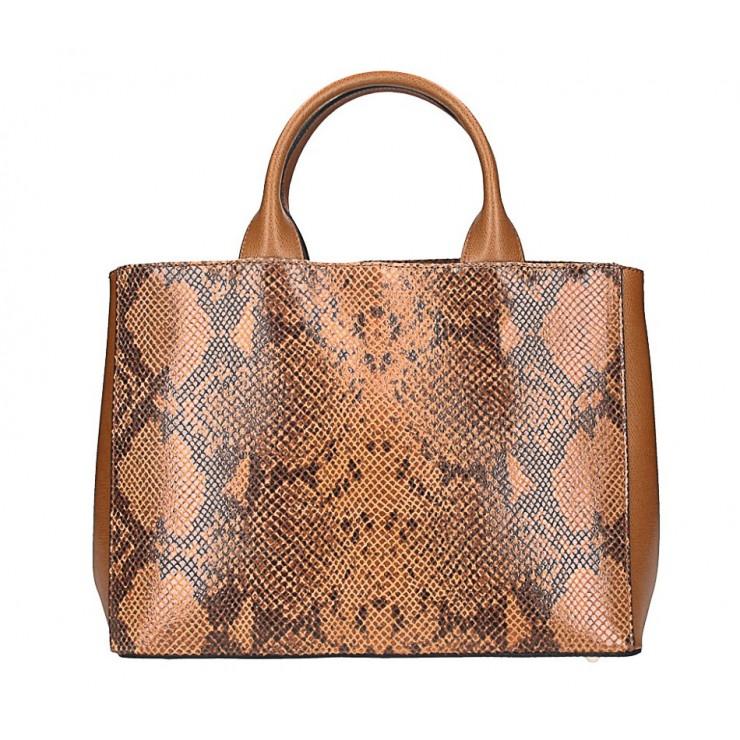 Genuine Leather Handbag 5087 cognac