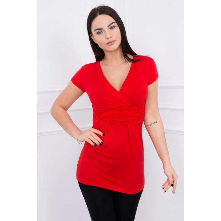 Dámské tričko s převazem pod hrudníkem rudé