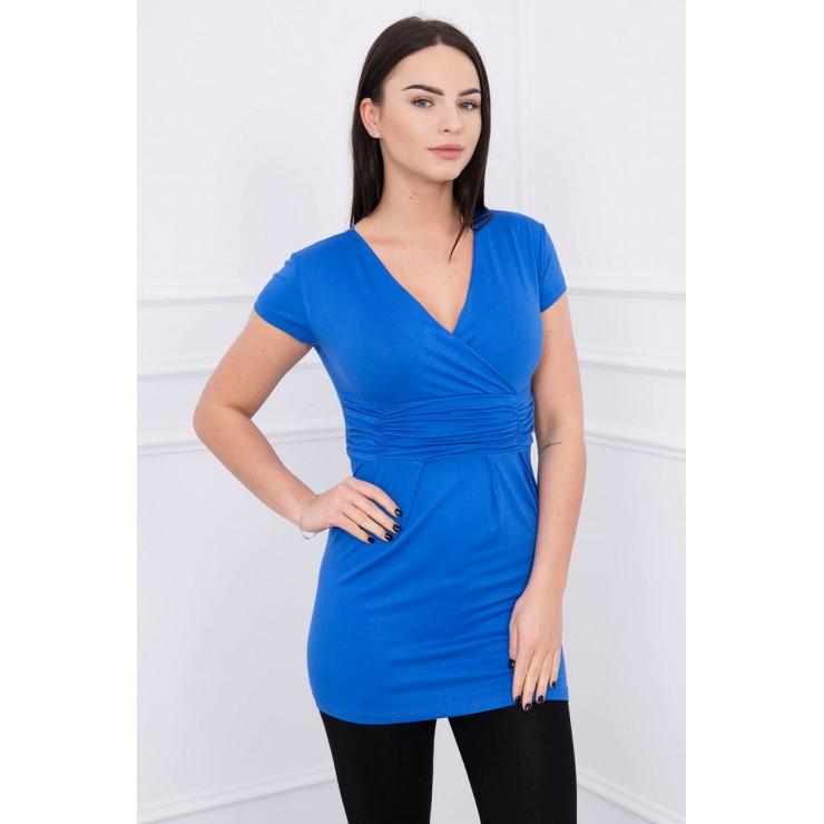 Dámské tričko s převazem pod hrudníkem azurově modré