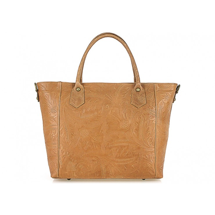 Genuine Leather Handbag 405 cognac