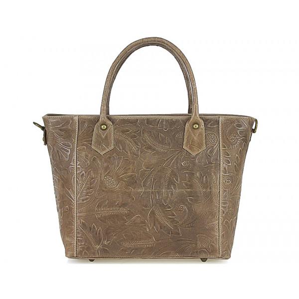 Talianska kožená kabelka 405 šedohnedá