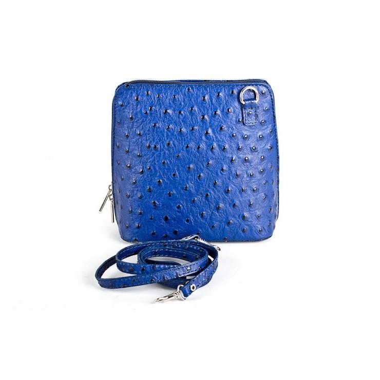 Kožená kabelka na rameno 603 azurově modrá