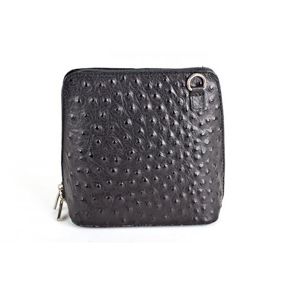 Kožená kabelka na rameno 603 čierna