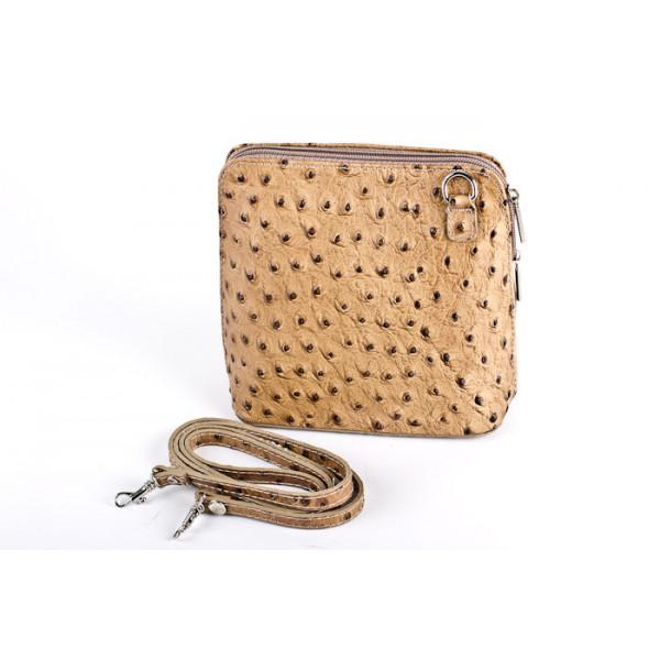 Kožená kabelka na rameno 603 šedohnedá