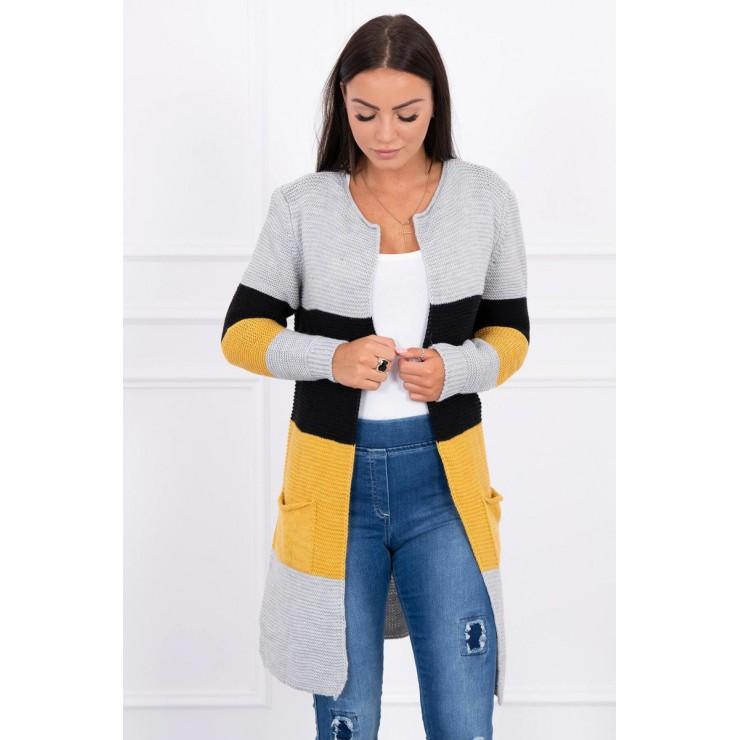 Ladies long sweater with wide stripes MI2019-12 black