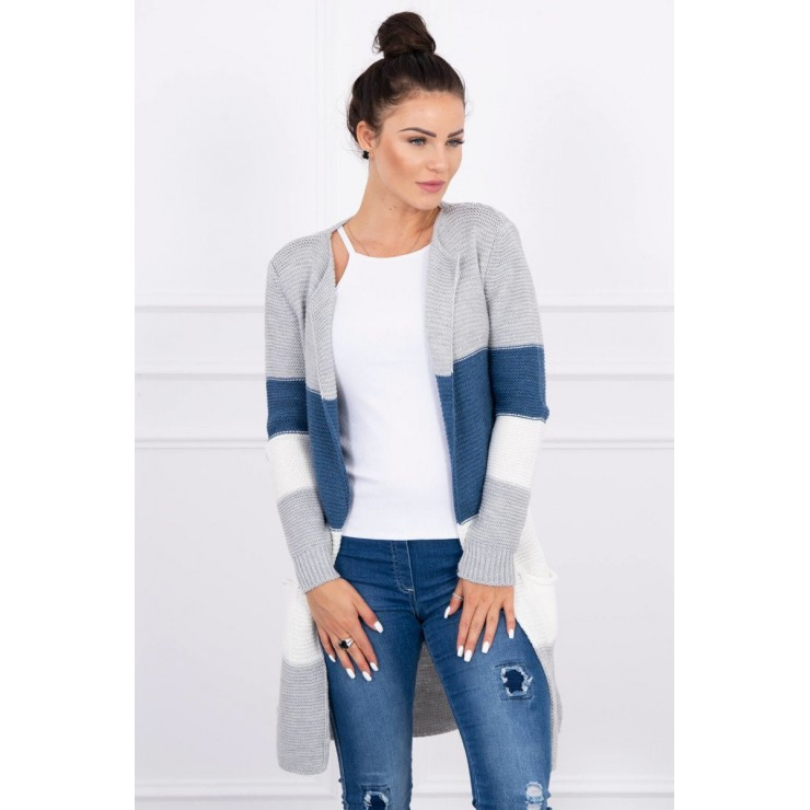 Ladies long sweater with wide stripes MI2019-12 jeans