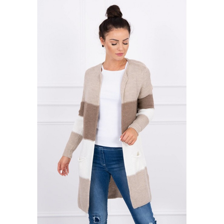Ladies long sweater with wide stripes MI2019-12 cappuccino