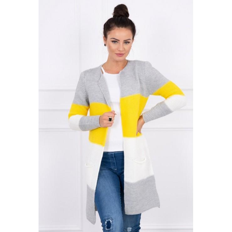 Dámsky sveter so širokými pruhmi  MI2019-12 žltý
