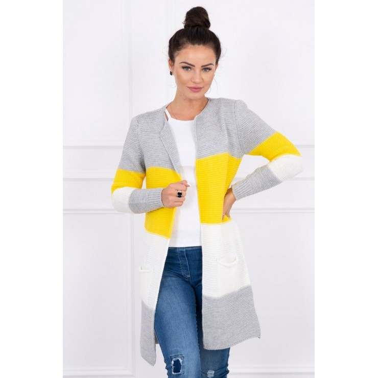 Ladies long sweater with wide stripes MI2019-12 yellow