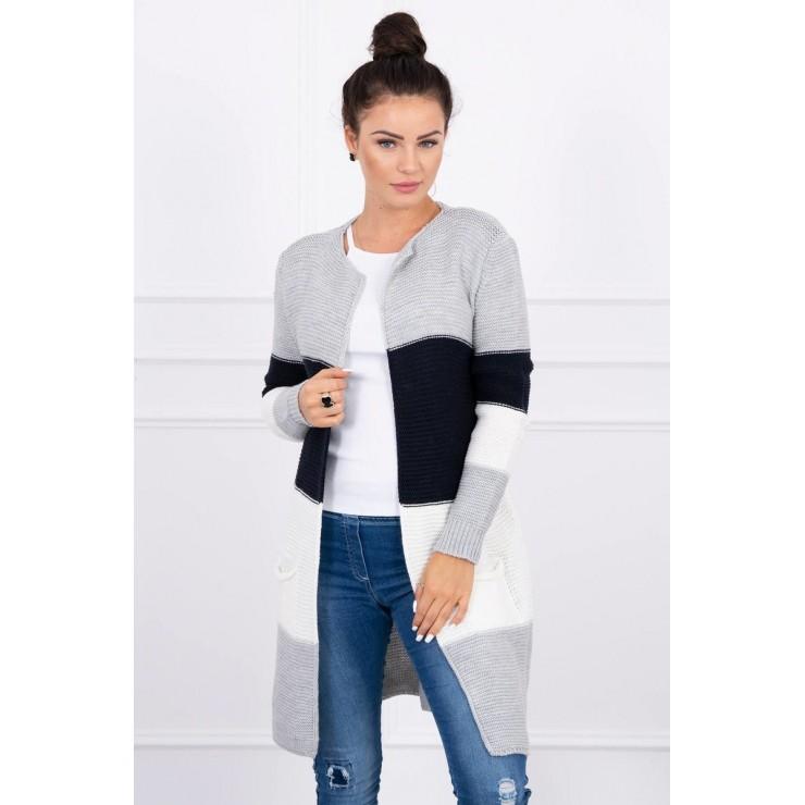 Dámsky sveter so širokými pruhmi  MI2019-12 tmavomodrý