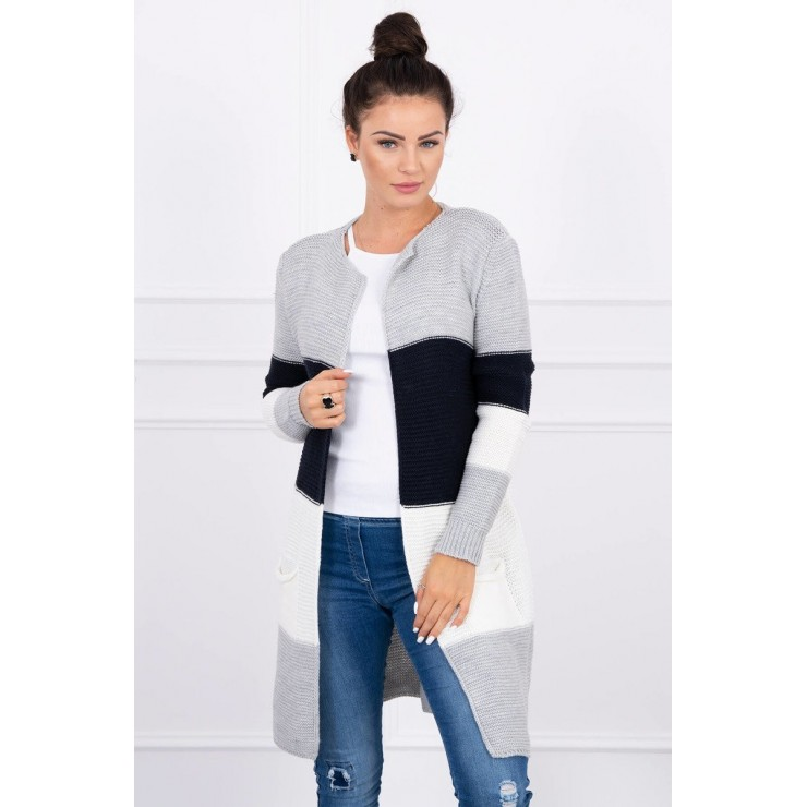 Ladies long sweater with wide stripes MI2019-12 dark blue