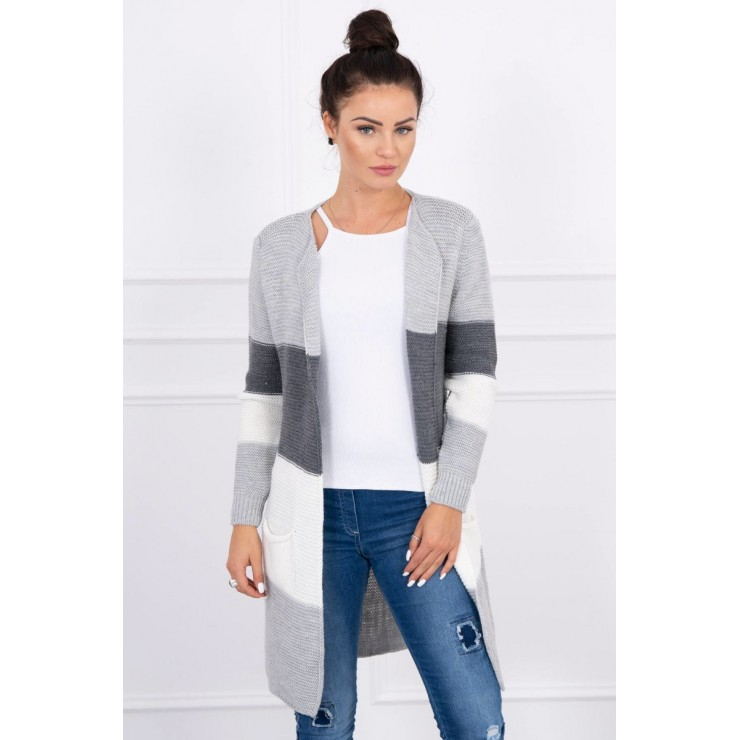 Ladies long sweater with wide stripes MI2019-12 graphite