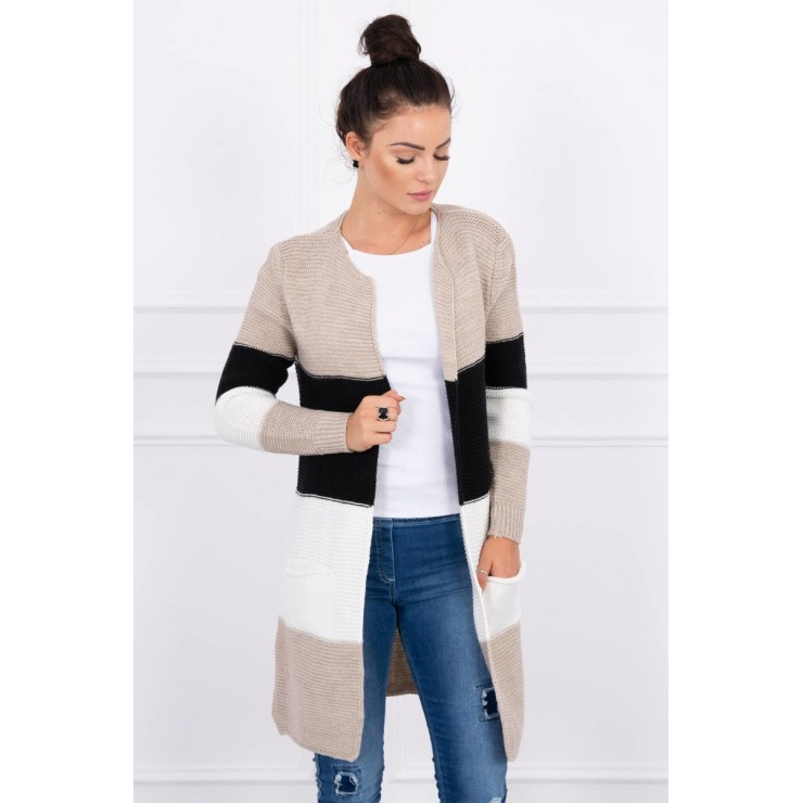 Ladies long sweater with wide stripes MI2019-12 beige