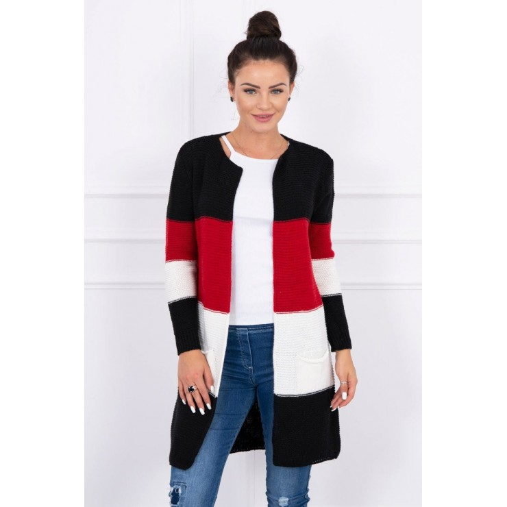 Ladies long sweater with wide stripes MI2019-12 red