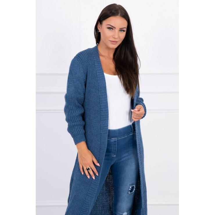 Dámsky sveter dlhý kardigán MI2019-2 jeans