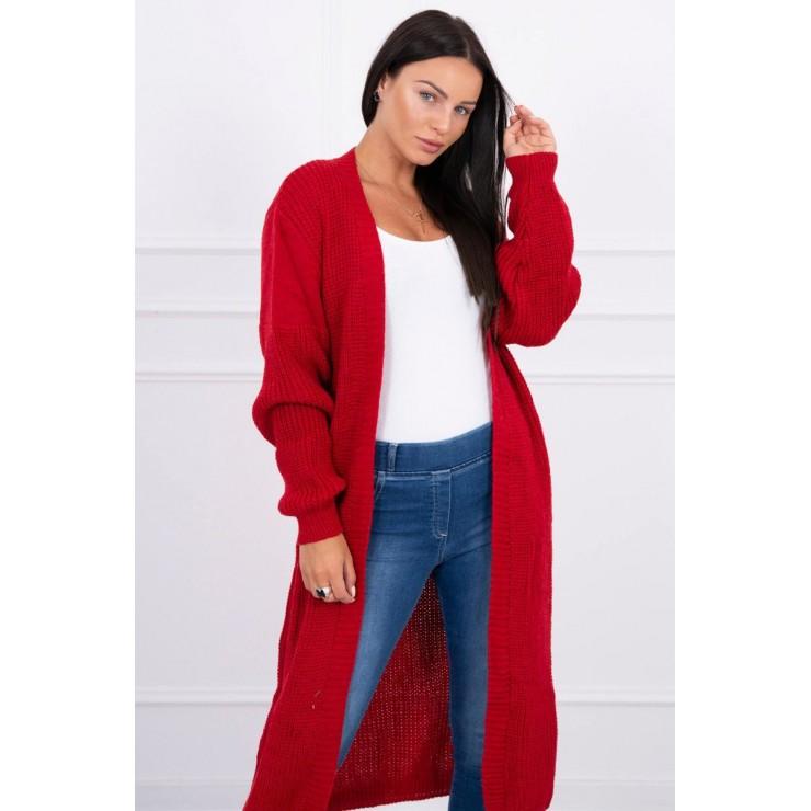 Dámsky sveter dlhý kardigán MI2019-2 červený