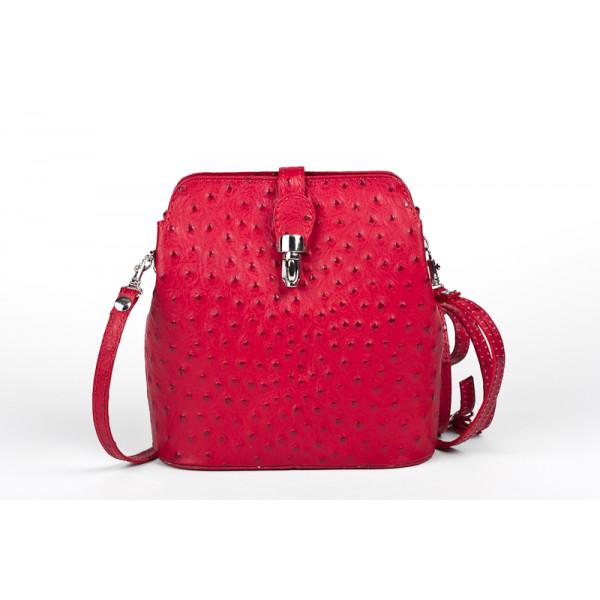 Kožená kabelka na rameno 603C červená