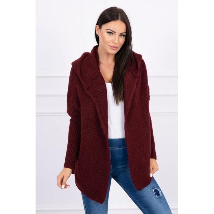 Dámsky sveter s kapucňou a rukávmi typ netopiera MI2019-16 bordový