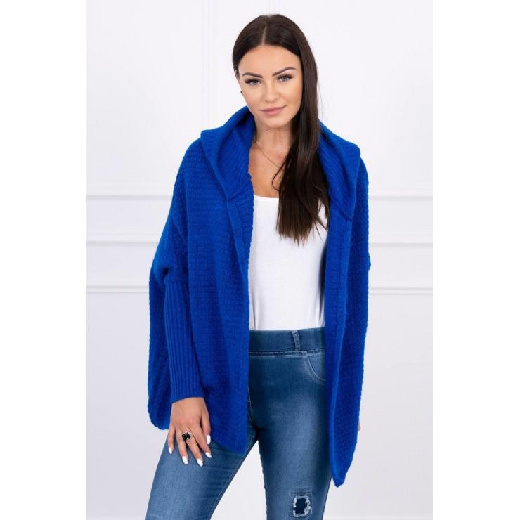 Dámsky sveter s kapucňou a rukávmi typ netopiera MI2019-16 azurovo modrý