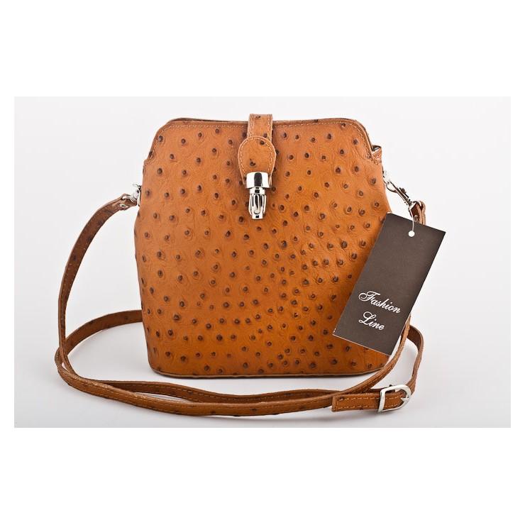 Genuine leather messenger bag 603C cognac