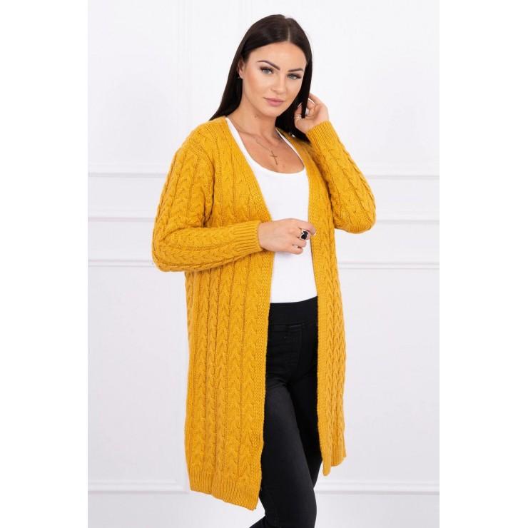 Sweater with braid pattern MI2019-14 mustard