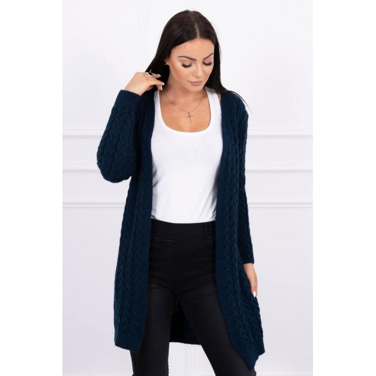 Sweater with braid pattern MI2019-14 dark blue