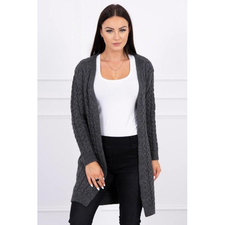 Sweater with braid pattern MI2019-14 graphite