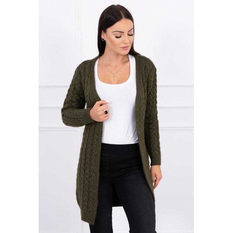 Sweater with braid pattern MI2019-14 dark green