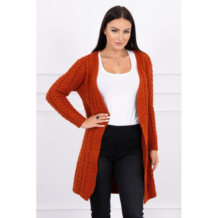 Sweater with braid pattern MI2019-14 brick