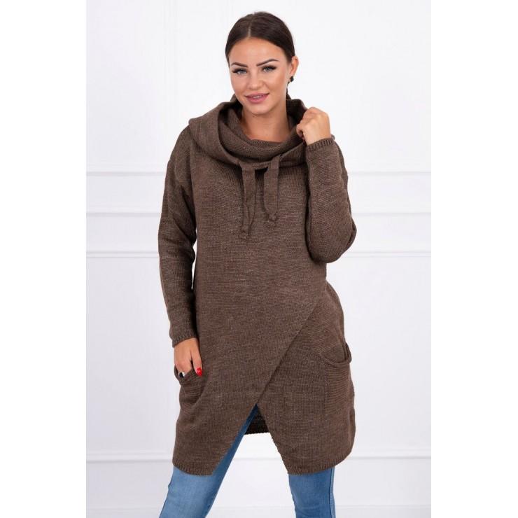 Dámsky sveter s prekladanou prednou časťou MI2019-6 cappuccino