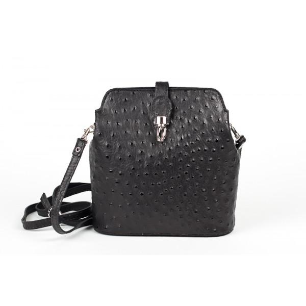 Kožená kabelka na rameno 603C čierna
