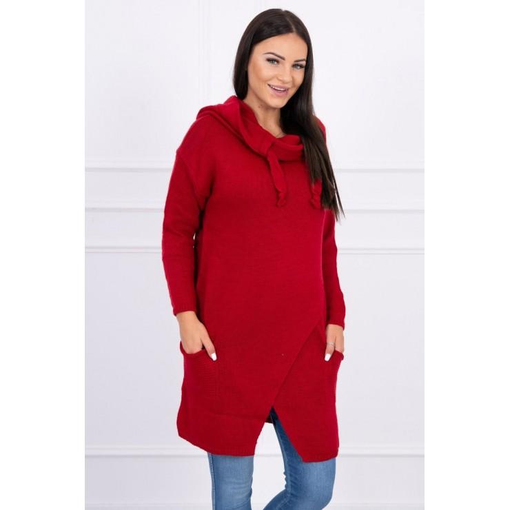 Dámsky sveter s prekladanou prednou časťou MI2019-6 červený