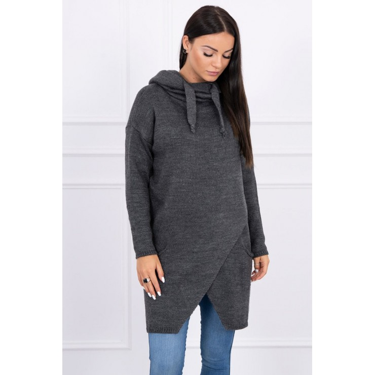 Dámsky sveter s prekladanou prednou časťou MI2019-6 grafitový