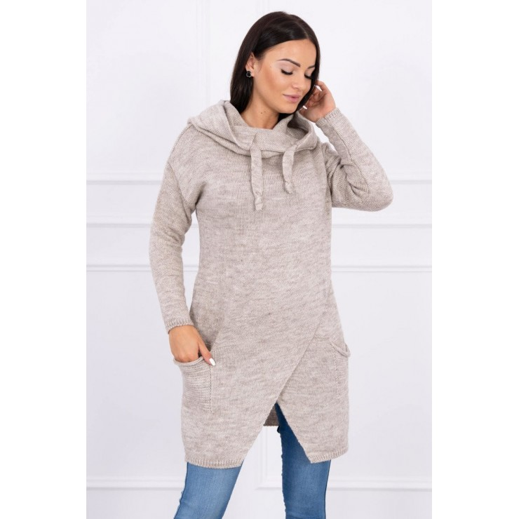 Dámsky sveter s prekladanou prednou časťou MI2019-6 tmavobéžový