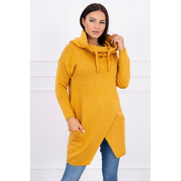 Dámsky sveter s prekladanou prednou časťou MI2019-6 okrový