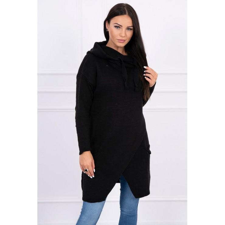 Dámsky sveter s prekladanou prednou časťou MI2019-6 čierny