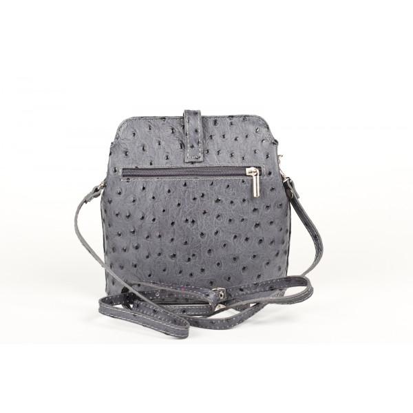 Kožená kabelka na rameno 603C tmavošedá