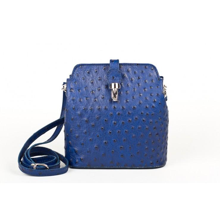 Kožená kabelka na rameno 603C azurově modrá