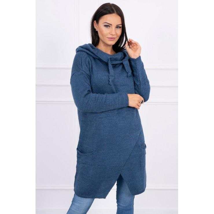 Dámsky sveter s prekladanou prednou časťou MI2019-6 jeans
