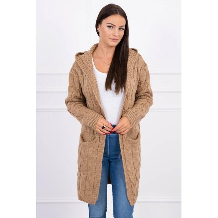 Dámsky sveter s kapucňou a vreckami MI2019-24 kamel